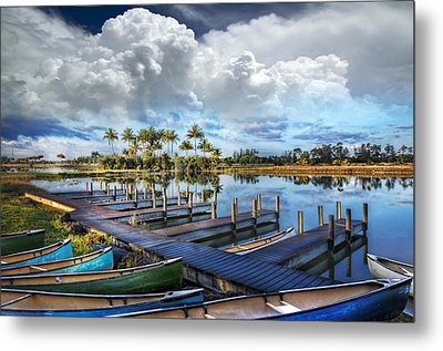 Canoes At The Docks Metal Print by Debra and Dave Vanderlaan