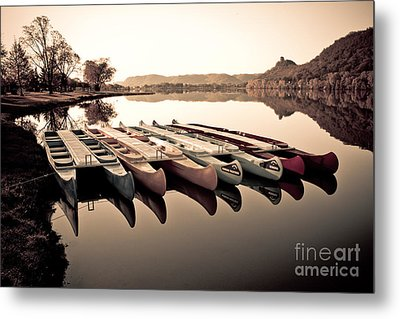 Metal Print featuring the photograph Canoes In The Early Morning by Kari Yearous