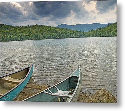 Canoes On Heart Lake Adirondack Park New York Metal Print by Brendan Reals