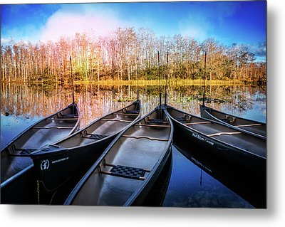 Canoes On The River Metal Print