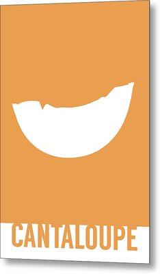 Cantaloupe Food Art Minimalist Fruit Poster Series 018 Metal Print by Design Turnpike
