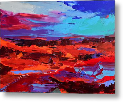 Metal Print featuring the painting Canyon At Dusk - Art By Elise Palmigiani by Elise Palmigiani
