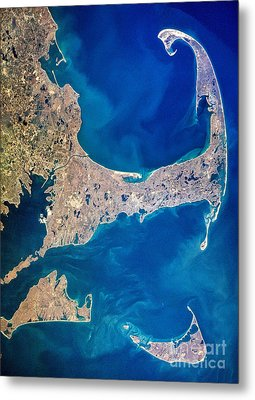 Cape Cod And Islands Spring 1997 View From Satellite Metal Print by Matt Suess