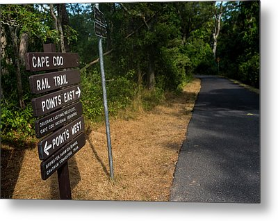 Cape Cod Rail Trail Sign Eastham Path Metal Print by Toby McGuire