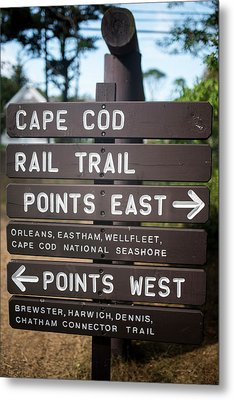 Cape Cod Rail Trail Sign Eastham Metal Print by Toby McGuire