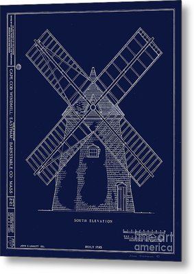 Metal Print featuring the photograph Historic Cape Cod Windmill Blueprint by John Stephens