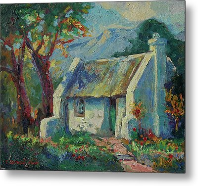 Cape Cottage With Mountains Art Bertram Poole Metal Print by Thomas Bertram POOLE