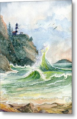 Metal Print featuring the painting Cape Disappointment Lighthouse by Marilyn Smith