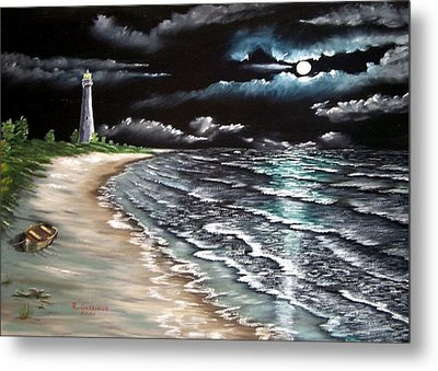 Cape Florida Lite At Midnight Metal Print by Riley Geddings