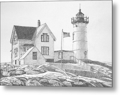 Cape Neddick Light House Drawing Metal Print by Dominic White