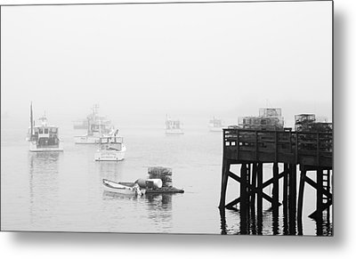 Cape Porpoise Lobster Boats In Fog Metal Print