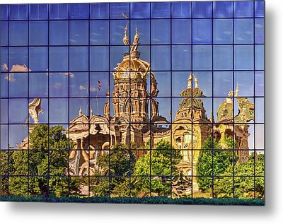 Metal Print featuring the photograph Capitol Reflection - Iowa by Nikolyn McDonald