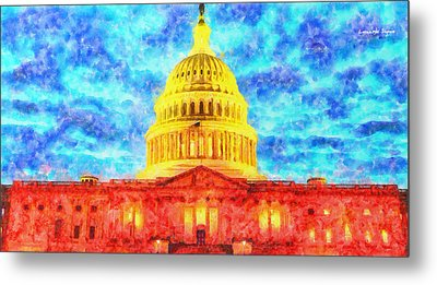 Capitol  - Watercolor -  - Da Metal Print by Leonardo Digenio
