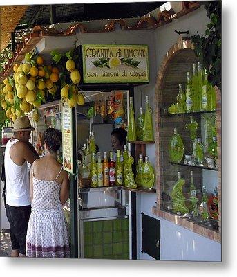 Capri Street Scene Con Limoni Metal Print