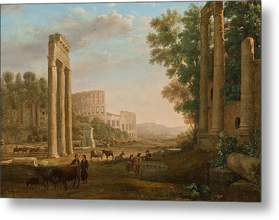 Capriccio With Ruins Of The Roman Forum Metal Print by Claude Lorrain