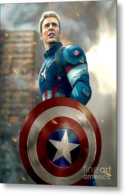 Captain America - No Helmet Metal Print