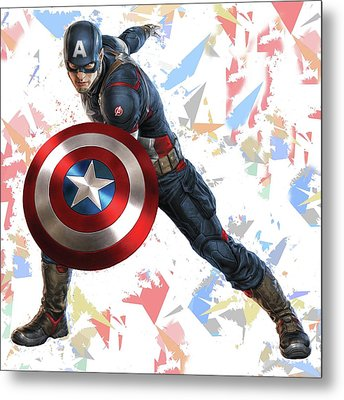 Metal Print featuring the mixed media Captain America Splash Super Hero Series by Movie Poster Prints