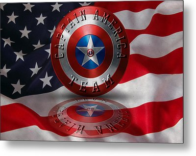 Metal Print featuring the painting Captain America Team Typography On Captain America Shield  by Georgeta Blanaru