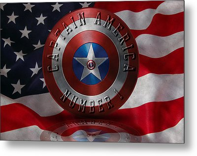 Metal Print featuring the painting Captain America Typography On Captain America Shield  by Georgeta Blanaru