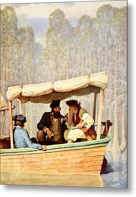 Captain Flood At A Meeting In A Cutter Metal Print by Newell Convers Wyeth