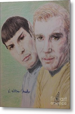 Captain Kirk And First Officer Spock Metal Print by N Willson-Strader
