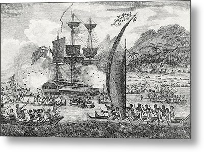 Captain Wallis Attacked By The Indians, 1767  Metal Print by English School