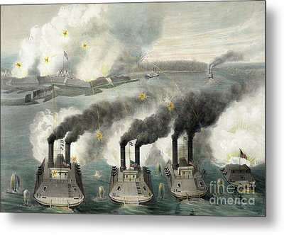 Capture Of Fort Henry By Us Gun Boats Under The Command Of Flag Officer Foote Metal Print by American School