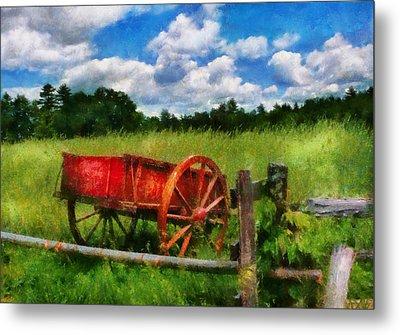 Car - Wagon - The Old Wagon Cart Metal Print by Mike Savad