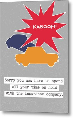 Car Accident Card- Art By Linda Woods Metal Print