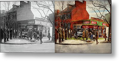 Metal Print featuring the photograph Car - Accident - Looking Out For Number One 1921 - Side By Side by Mike Savad