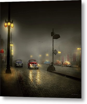 Metal Print featuring the photograph Car - Down A Lonely Road 1940 by Mike Savad