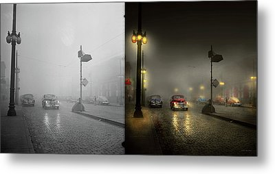 Metal Print featuring the photograph Car - Down A Lonely Road 1940 - Side By Side by Mike Savad