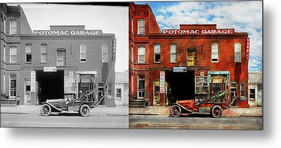 Metal Print featuring the photograph Car - Garage - Misfit Garage 1922 - Side By Side by Mike Savad