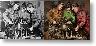 Car Mechanic - In A Mothers Care 1900 - Side By Side Metal Print
