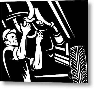 Car Mechanic Working Metal Print by Aloysius Patrimonio