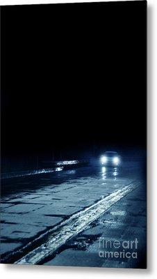 Car On A Rainy Highway At Night Metal Print by Jill Battaglia