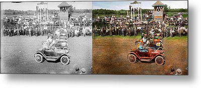 Car - Race - On The Edge Of Their Seats 1915 - Side By Side Metal Print