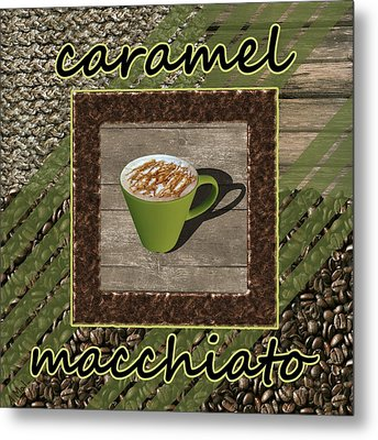 Caramel Macchiato - Coffee Art - Green Metal Print by Anastasiya Malakhova