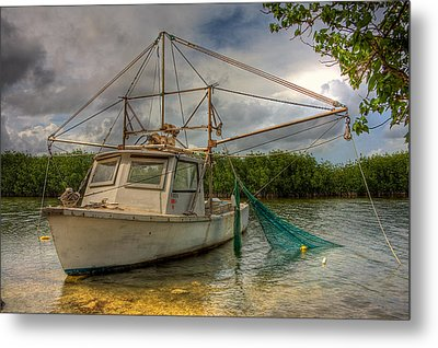 Card Sound Fishing Boat Metal Print by William Wetmore