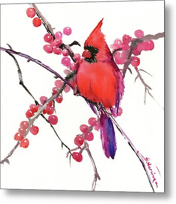 Cardinal And Berries Metal Print