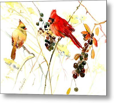 Cardinal Birds And Berries Metal Print