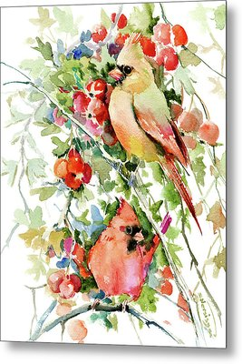 Cardinal Birds And Hawthorn Metal Print