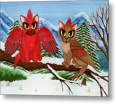 Cardinal Cats Metal Print by Carrie Hawks