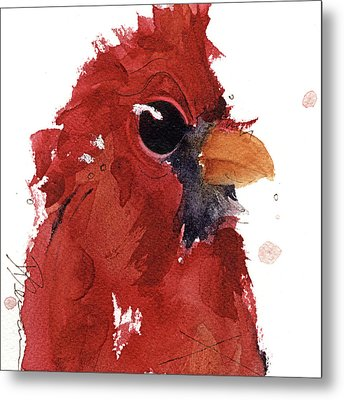 Metal Print featuring the painting Cardinal by Dawn Derman
