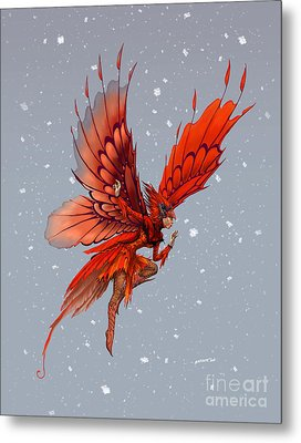 Metal Print featuring the digital art Cardinal Fairy by Stanley Morrison