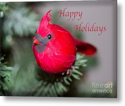 Cardinal Happy Holidays Metal Print