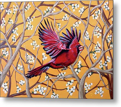 Metal Print featuring the painting Cardinal In Flight by Teresa Wing