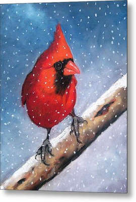 Cardinal In Winter Metal Print by Joyce Geleynse