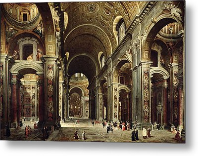 Cardinal Melchior De Polignac Visiting St Peters In Rome Metal Print by Giovanni Paolo Pannini or Panini