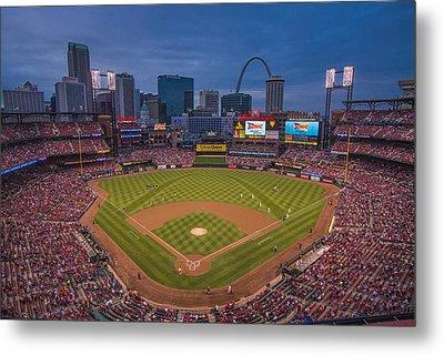 Cardinal Nation Busch Stadium St. Louis Cardinals Twilight 2015 Metal Print by David Haskett